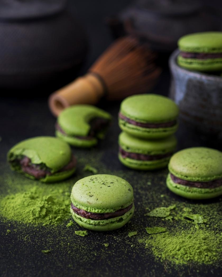 Japanese Matcha Macarons with Azuki Bean Filling | Mimi Claire
